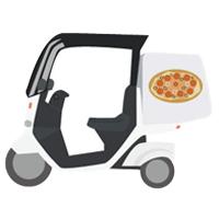 ピザを配達しているバイク